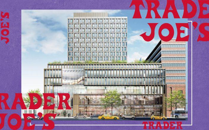 A rendering of 121 West 125th Street in Harlem (Photo via BRP Companies; Trader Joe's)