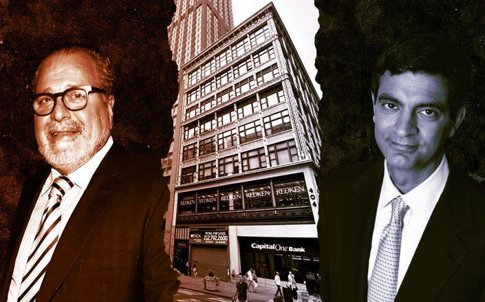 From left: Joseph Chetrit, 404 Fifth Avenue and WeWork CEO Sandeep Mathrani (Photos via Wikipedia Commons; Google Maps)