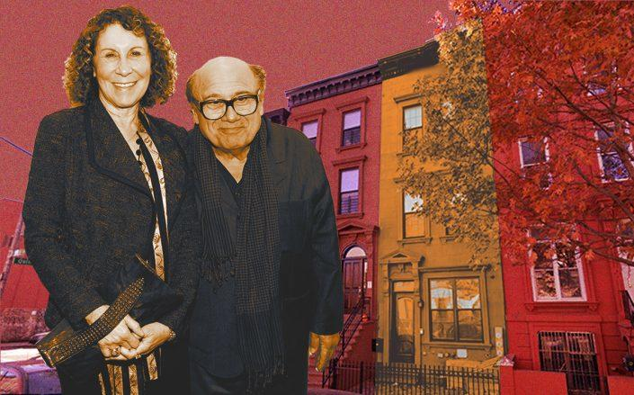 Danny DeVito and Rhea Perlman with their Clinton Hill home (Getty, Google Maps)