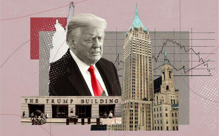 President Donald Trump and 40 Wall Street (Getty, Wikimedia Commons, iStock/Illustration by Alexis Manrodt for The Real Deal)