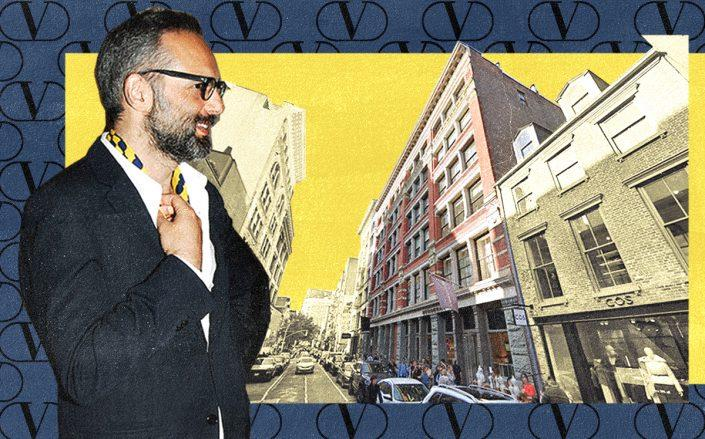 Valentino CEO Jacopo Venturini and 135 Spring Street (Nick Hunt/Patrick McMullan/Getty, Google Maps)
