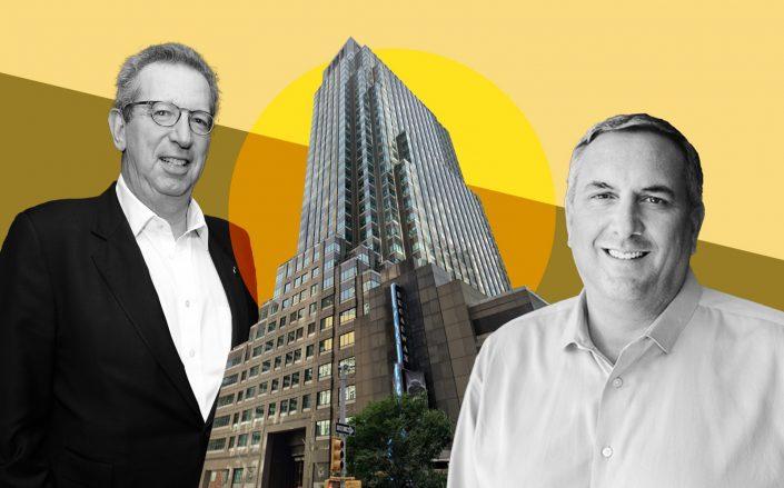 Rudin Management's Bill Rudin, 1675 Broadway and Gannett CEO Mike Reed (Getty, Google Maps, Gannett)