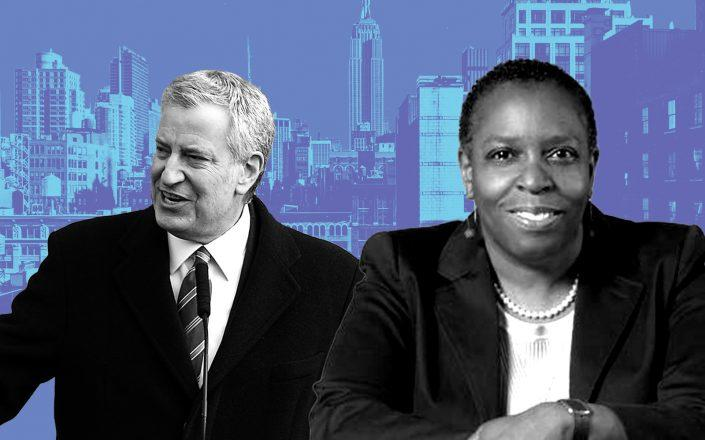 Mayor Bill de Blasio and Tax Equity Now New York's Martha Stark (Getty, iStock, NYU)
