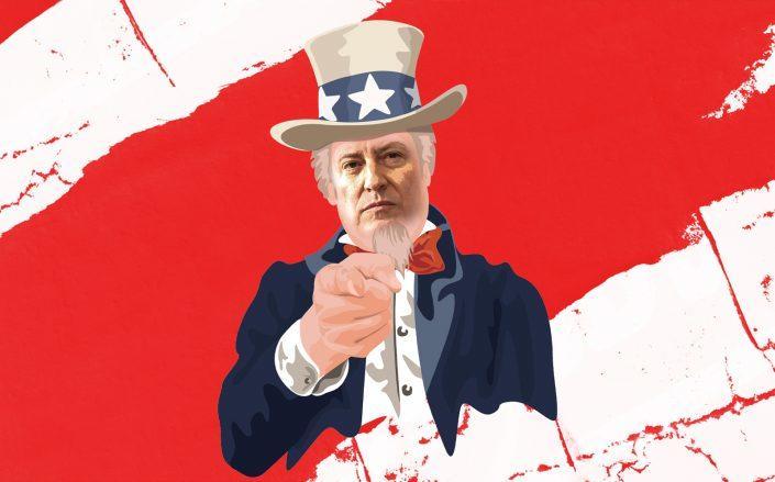 Photo illustration of Mayor Bill de Blasio as Uncle Sam (iStock, Getty/Illustration by Kevin Rebong)