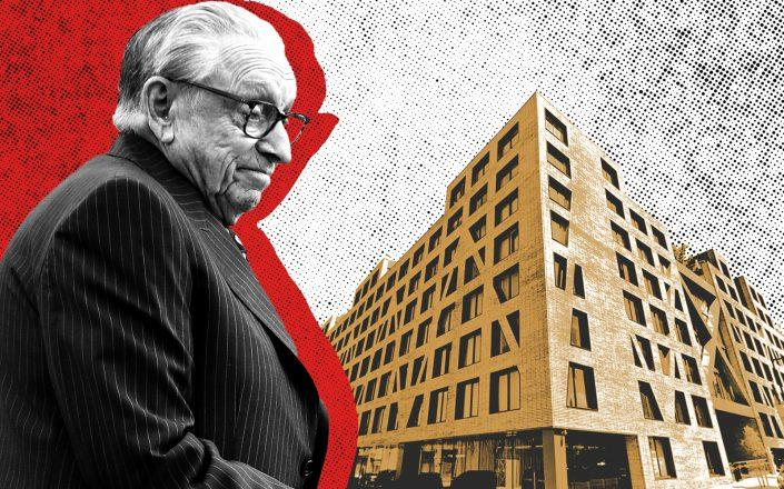 Silverstein Properties' Larry Silverstein and Phase I of the Denizen Bushwick at 54 Noll Street (Getty, Google Maps/Illustration by Kevin Rebong for The Real Deal)
