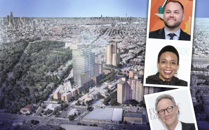 City Council Speaker Corey Johnson and Crown Heights Council member Laurie Cumbo denounced Bruce Eicher's rezoning request. (Getty, Lincoln Equities)