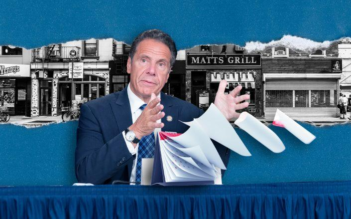 Photo illustration of Gov. Andrew Cuomo (Getty, iStock/Illustration by Kevin Rebong for The Real Deal)