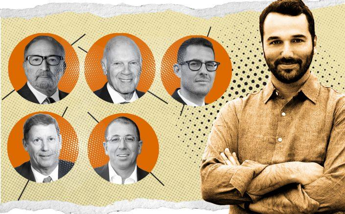 Industrious CEO Jamie Hodari (right). Inset (clockwise): TF Cornerstone's Frederick Elghanayan, Vornado's Steven Roth, LIVWRK's Asher Abehsera, Thor Equities' Joseph Sitt, and George Comfort & Sons' Peter Duncan (Photo Illustration by Kevin Rebong for The Real Deal)