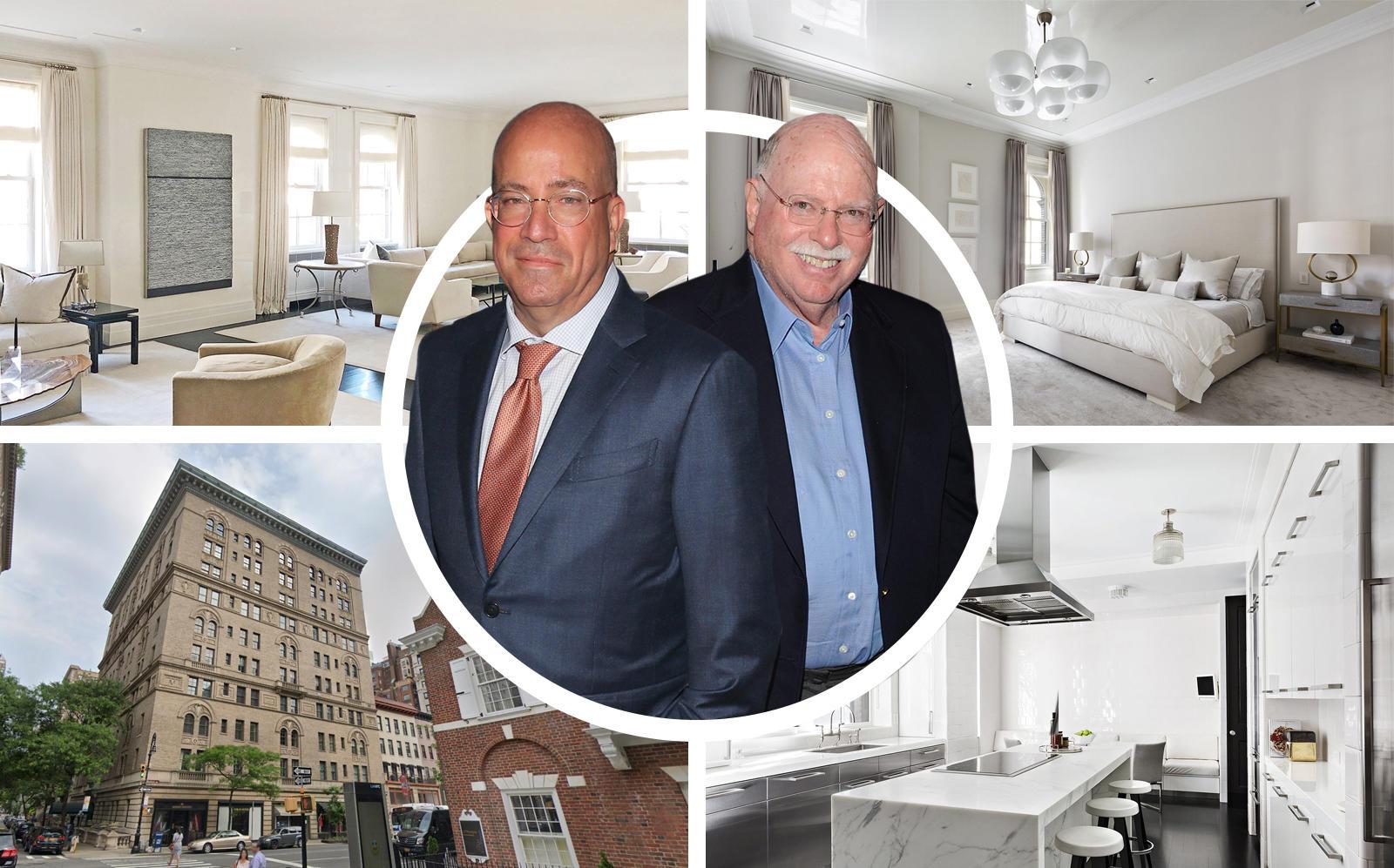 Jeff Zucker, Michael Steinhardt  and 32 East 64th Street. (Getty, Google Maps, Warburg Realty)