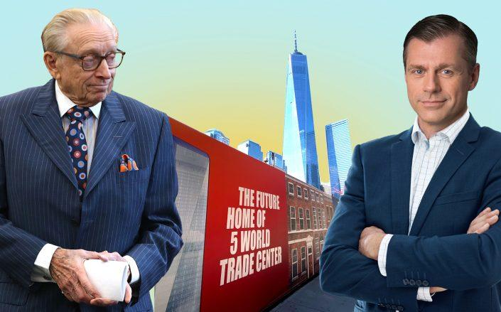 Silverstein Properties' Larry Silverstein and Brookfield's Brian Kingston (Getty/Illustration by Kevin Rebong for The Real Deal)