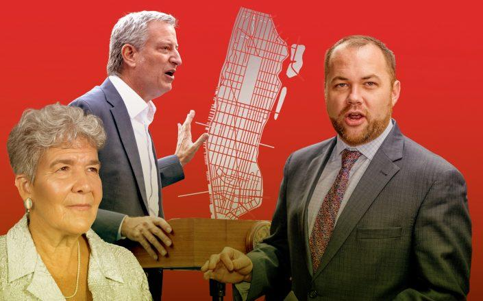 City Planning head Marisa Lago, Mayor Bill de Blasio and City Council speaker Corey Johnson (Getty)