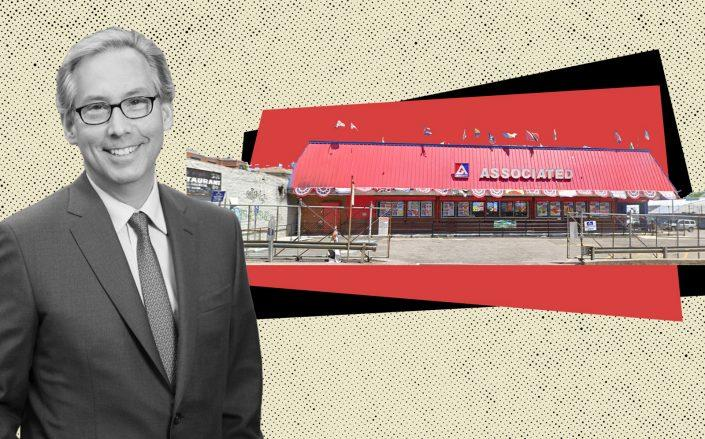 Midwood Investment and Development CEO Josh Usdan and Associated Supermarket at 975 Nostrand Avenue (Photos via Midwood, Google Maps)