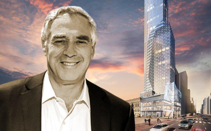 Mickey Rabina and renderings of his 452,132 square foot building. (Getty, Rabina, Ceruzzi Properties)