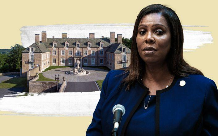 Attorney General Letitia James and Trump's Seven Springs in Upstate, New York (Getty, Trump Organization/Photo Illustration by Kevin Rebong for The Real Deal)