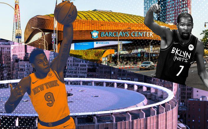 Madison Square Garden and Barclays Center with RJ Barrett (left) and Kevin Durant (iStock, Getty/Photo Illustration by Kevin Rebong for The Real Deal)