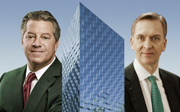 SL Green's Marc Holliday and Brookfield Asset Management's Bruce Flatt with Tower 46. (SL Green, Brookfield)