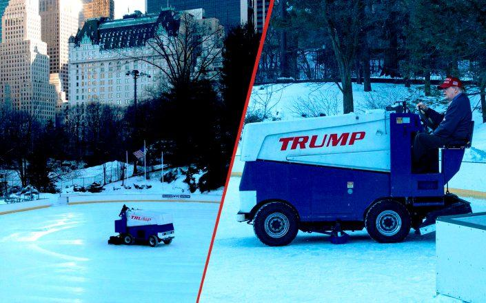 A photo illustration of Donald Trump at the Wollman Rink in Central Park (Getty/Illustration by Kevin Rebong for The Real Deal)