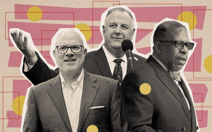 Urban Green Council's John Mandyck, BCTC's Gary LaBarbera and 32BJ's Kyle Bragg (Twitter, Getty, 32BJ SEIU, iStock)