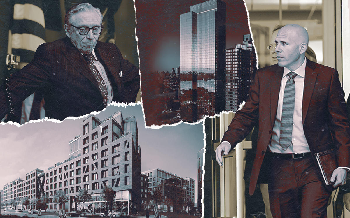 Larry Silverstein and The Denizen in Brooklyn above; and Scott Rechler with 555TEN in Hudson Yards top right. (Getty)