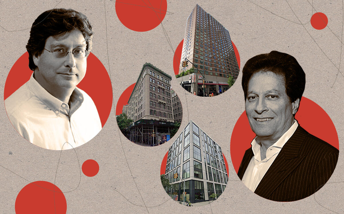 CIM Group's Richard Ressler and HFZ's Ziel Feldman with 301 West 53rd Street, 235 West 75th Street and 90 Lexington Avenue (Getty, Google Maps)