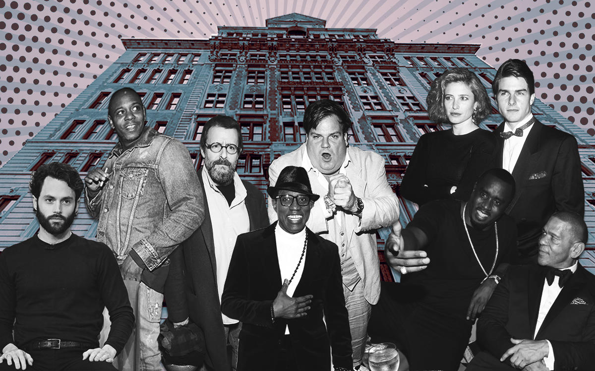 """Rutherford Place with some former and present celebrity tenants (from left) Penn Badgley, Dave Chappelle, Judd Nelson, Wesley Snipes, Chris Farley, Mimi Rogers and Tom Cruise, Sean """"Diddy"""" Combs and Benny Medina (Getty, Google Maps, iStock)"""