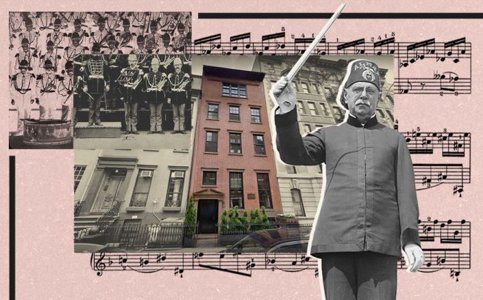 John Philip Sousa and the Sousa House at 80 Washington Place (Getty, Google Maps, iStock/Illustration by Alexis Manrodt for The Real Deal)