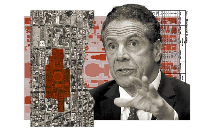 Gov. Andrew Cuomo and an aerial view of the Empire Station Complex site (Getty, Empire State Development)