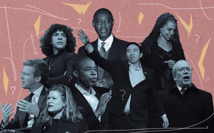 From left: Shaun Donovan,Dianne Morales,Kathryn Garcia, Eric Adams,Ray McGuire,Andrew Yang,Maya Wiley andScott Stringer (Getty)
