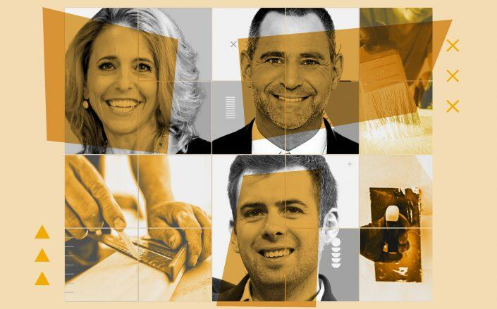 Clockwise: Corcoran's Pam Liebman and Gary Malin with Angi Homeservices CEO Oisin Hanrahan (Photos via Corcoran, iStock, Getty)