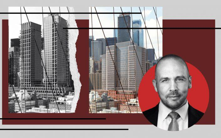 Previous rendering of 250 Water Street (left) and a new rendering (right) with Howard Hughes Corporation CEO David O'Reilly (The Howard Hughes Corporation/SOM)
