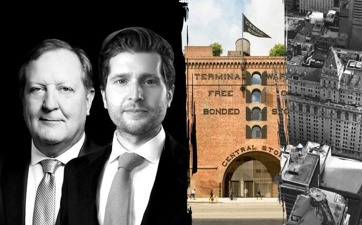 From left: Nelson Mills of Columbia Property Trust, Gavriel Kahane of Arkhouse, Terminal Warehouse in Chelsea and 229 West 43rd Street (Photos via Columbia Property Trust, IFEB, Terminal Warehouse, Google Maps)