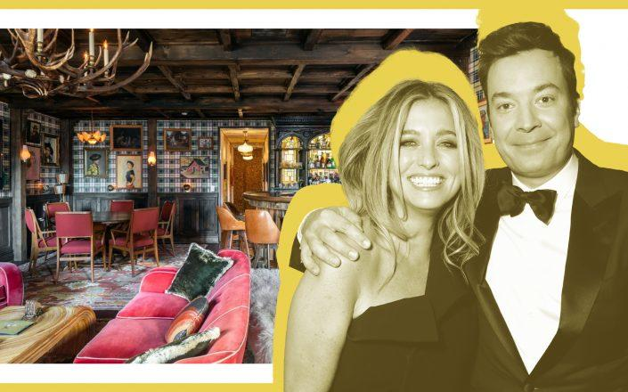 Jimmy Fallon and Nanvy Juvonen with their penthouse at 34 Gramercy Park East (Photos via Getty/Sotheby's Jeremy V. Stein and Debbie Korb)