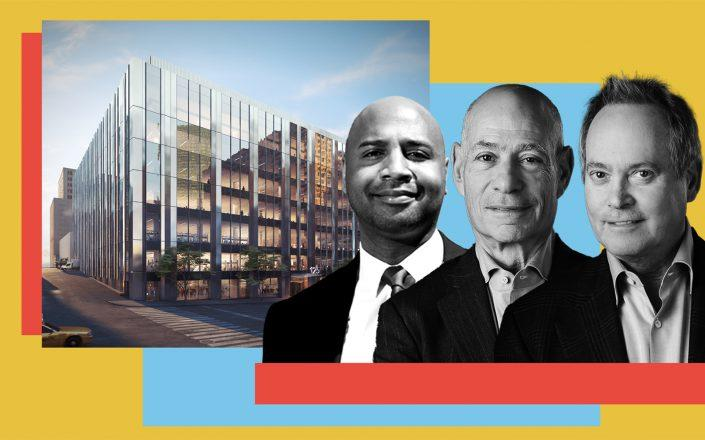 A rendering of 125 West End Avenue, Nuveen Real Estate managing director Nadir Settles and Taconic co-CEOs Charlie Bendit and Paul Pariser (Photos via Taconic, Nuveen)