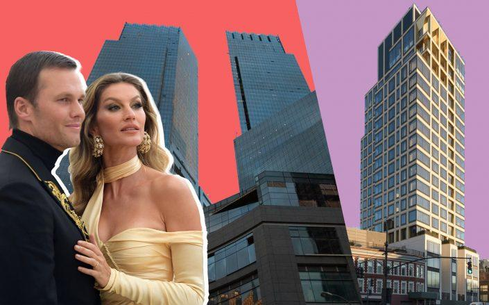 A Columbus Circle apartment once owned by Tom Brady and Gisele Bundchen went into contract last week, helping the Manhattan luxury home market finish February on a high note. 551 West 21st Street on the right. (Photos via Compass, Getty, Foster and Partners)