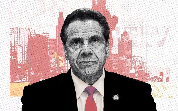 Photo Illustration of Gov. Andrew Cuomo (iStock, Getty/Illustration by Kevin Rebong for The Real Deal)