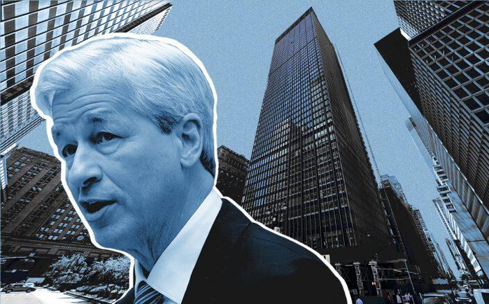 JPMorgan CEO Jamie Dimon and 270 Park Avenue (Getty, Google Maps)
