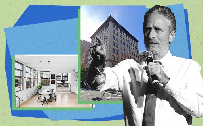 Jon Stewart and 161 Hudson Street PH 9A/8B (Getty, Compass, Google Maps)
