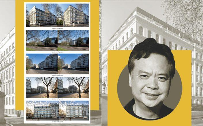 Cheung Chung-kiu with photos of the mansion and renderings of the renovation (2-8A Rutland Gate)