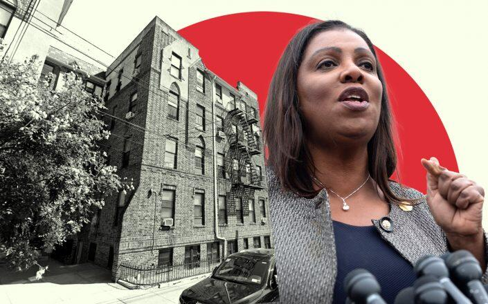 420 Stockholm Street in Bushwick with State Attorney General Letitia James (Google Maps, Getty)
