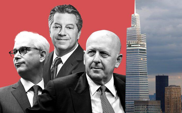 From left: Wells Fargo's Charles Scharf, SL Green's Marc Holliday, Goldman Sachs' David Solomon and One Vanderbilt (Getty)