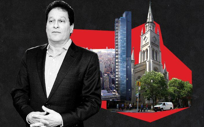 HFZ Capital Group's Ziel Feldman, a rendering of 29th&5th and Marble Collegiate Church (Getty, HFZ)