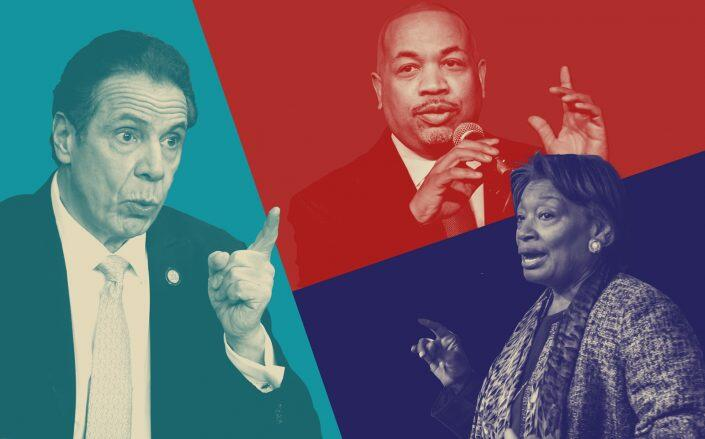 Gov. Andrew Cuomo, Senate Majority Leader Andrea Stewart-Cousins and Assembly Speaker Carl Heastie (Getty; iStock/Illustration by Kevin Rebong for The Real Deal)