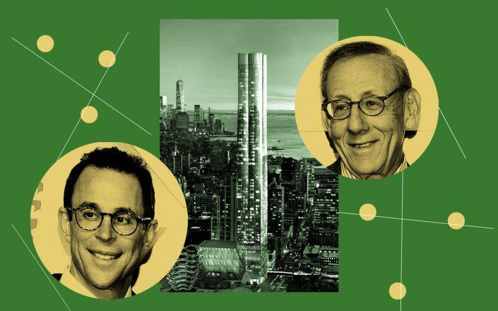 Related's Stephen Ross and Jeff Blau (left) with 15 Hudson Yards (Getty, Hudson Yards)