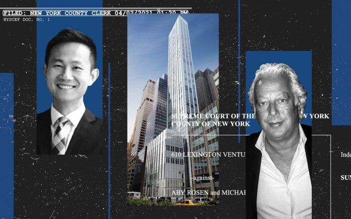 From left: Vanke US managing director Kai-yan Lee, 100 East 53rd Street and RFR's Aby Rosen (Photos via Foster + Partners and Getty)