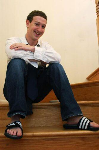 A young Mark Zuckerburg on the stairs of the Los Altos home. (The Harvard Crimson)
