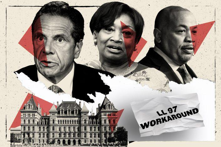 Gov. Andrew Cuomo, Andrea Stewart-Cousins and Carl Heastie (Getty; iStock/Illustration by Kevin Rebong for The Real Deal)