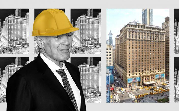 Photo illustration of Vornado CEO Steven Roth and Hotel Pennsylvania at 401 Seventh Avenue (Getty, iStock, Vornado)