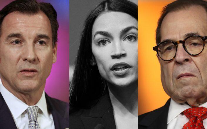 U.S. Representatives Tom Suozzi, Alexandria Ocasio-Cortez and Jerrold Nadler. (Getty)