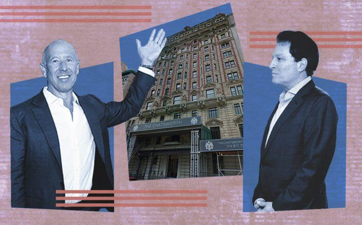 Starwood Capital CEO Barry Sternlicht and HFZ Capital chairman Ziel Feldman with the Chatsworth at 344 West 72nd Street and (Getty, Google Maps)