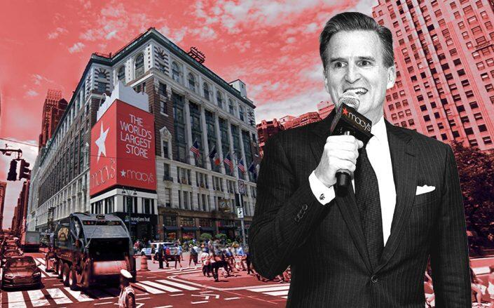 Jeff Gennette and the Macy's Herald Square location (Getty, Google Maps)